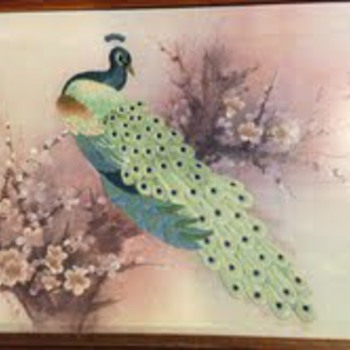 Peacock Embroidery framed picture  - Asian