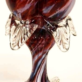 Antonin Rückl & Sons / Ruckl Bohemian Heart Shaped Vase, Red Lined Glass with Oxblood Red & White Spatter Decor - Art Glass
