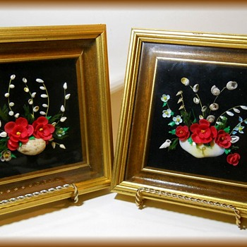Vintage SEA SHELL Art ( Pictures framed ) on Black Velvet - Folk Art