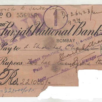 British India 1943 Punjab National Bank Limited High Value Rs 22100 Rupees Two Lac Twenty One Thousand Vintage Old Cheque - World Coins