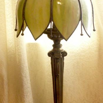 Green-Cream Slag tulip brass lamp with long tails between petals.....