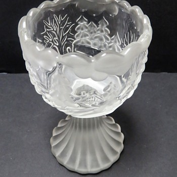 Walther Glas Candle Holder Goblet - Frosted Winter Scene - Glassware