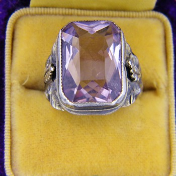 "Antique Victorian Amethyst ""Rose De France"" Sterling Ring  - Fine Jewelry"