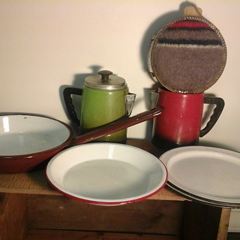 Vintage Enamel Ware And Camping Gear