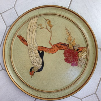 Japanese hand painted tray - Asian