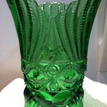 Green Footed Vase-Pressed Glass - Glassware