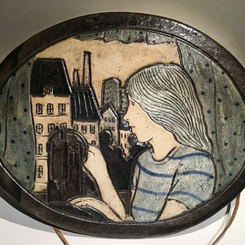 Wall plaque stoneware signed AL - Pottery