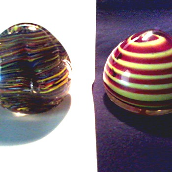 Pair of Murano Paperweights / One Labeled Venetian Glass / Unknown Age