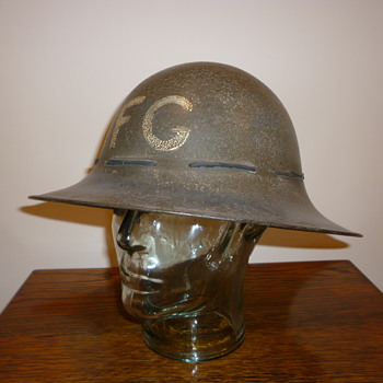 British WWII Civil Defence Fire Guard steel helmet.