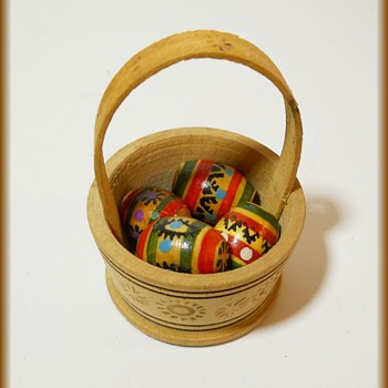 Small Wooden Easter Basket and Eggs - Advertising