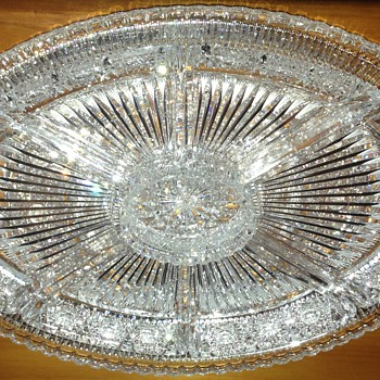 Museum Quality Brilliant Cut Crystal or Glass Relish Tray - Glassware