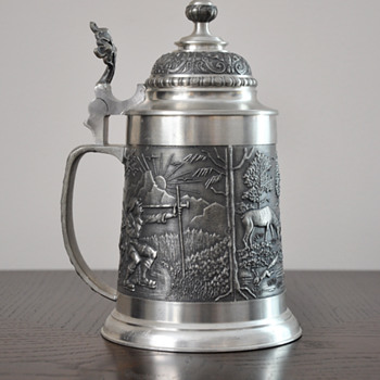 Pewter German Beer Stein With Lid and Touchmarks