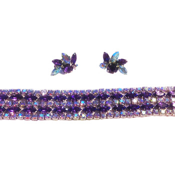 Sherman Signed Purple Bracelet With Pair of Earrings - Costume Jewelry