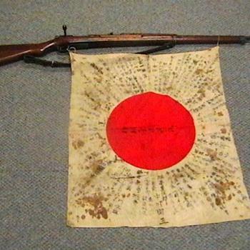 WW II Japanese Type 38 Rifle with Yosegaki Hinomaru Flag - Military and Wartime