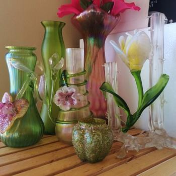 Kralik Flower Friends & Rindskop Iridescent Vases - Art Glass