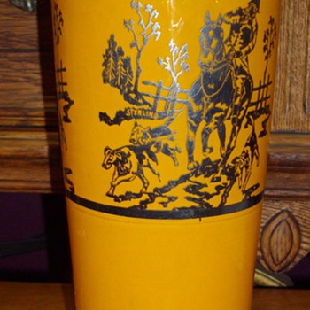 Sterling overlay orange vase, Czech? - Art Glass