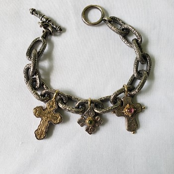 Konstantino Sterling Silver & 18K Gold Bracelet - Costume Jewelry