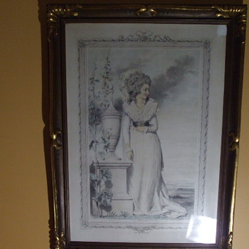 Framed ELEGANT LADY of 1790's-Early 1800's  PRINT Signed L. BUSIERE