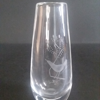 Orrefors bud vase with bird on branch - Art Glass