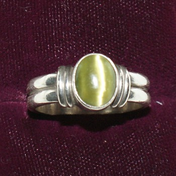 Silver Ring With Green Stone - Fine Jewelry