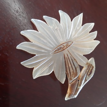 Antique horn flower brooch and haircomb - Art Nouveau