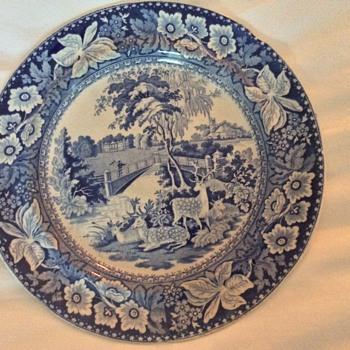 Antique blue transferware plates - China and Dinnerware
