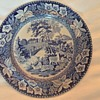 Antique blue transferware plates