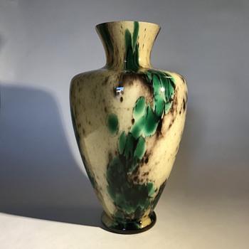 Kralik Cream and Green Powder and Pebbles Vase - Art Deco