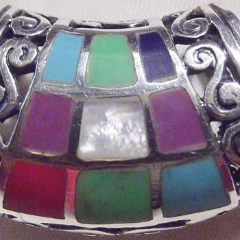 .925 tourquoise mosaic inlay pendant slider