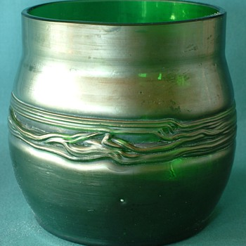 Art Nouveau Style Green Iridescent Flower Vase - Art Glass