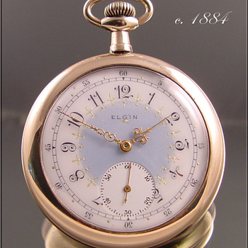 Elgin Pocket Watch With Multi-Color Fancy Dial c.1884 - Pocket Watches