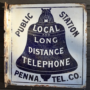 1897  Penna. Tel. Co. L&LD Public Station sign  - Telephones