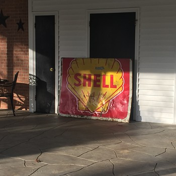 Antique 4' by 5' Shell Sign - Petroliana