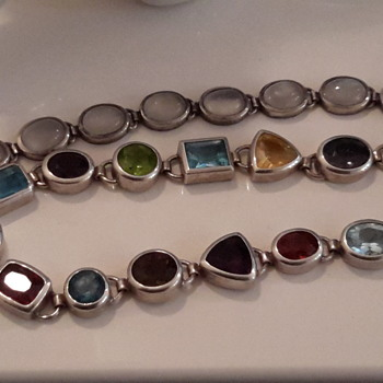 Two gem set bracelets in sterling silver - Silver