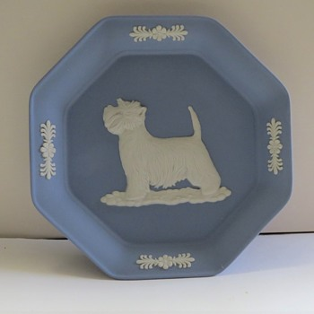 Wedgwood Jasperware Pin Tray with West Highland Terrier & Trumpet Vase - China and Dinnerware