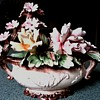 Capodimonte Floral Centerpiece / Dogwood and Roses /Marked / Circa 1960-80's ?