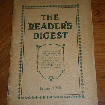Readers Digest, January 1920 Vol 1, No. 1 - Paper