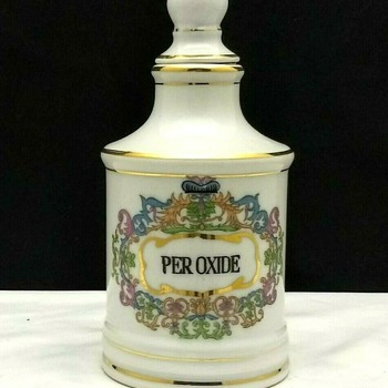 Vintage Hand Painted Apothecary Peroxide Barber Bottle - Bottles