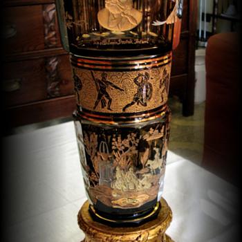 MOSER ENGRAVED AND GOLDEN CRYSTAL VASE - Art Glass