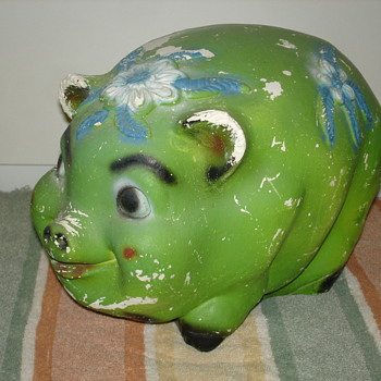 Big Vintage Carnival Chalk Pig Bank - Coin Operated