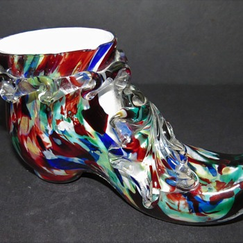 Welz Spatter Glass Shoe - Art Glass