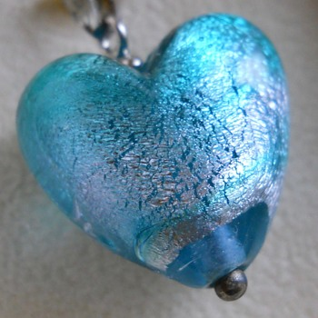 Costume Jewelry Pendant, Glass Heart, Antica Murrina, Circa 20 century