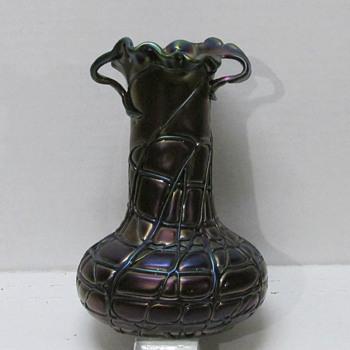 Art Nouveau Pallme-König Purple Amethyst Thread Veined Vase - Art Glass
