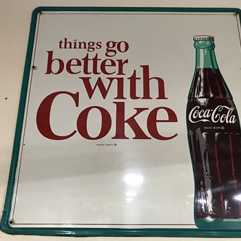 Nice large Coca Cola tin painted sign   - Coca-Cola