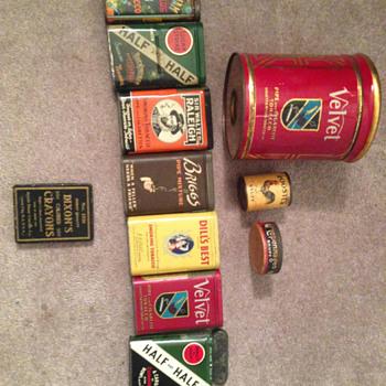 Tobacco tins and an old crayon tin - Tobacciana