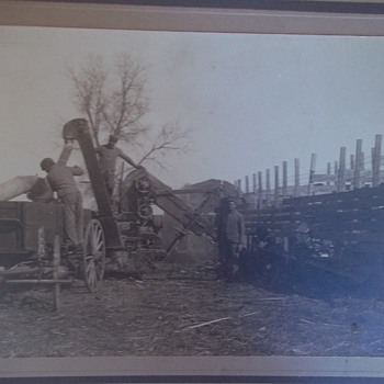 1915, Outdoor Occupational Photo.Old Wagon Attached To A Machine.Men Work It.