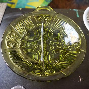 Green Glass Serving Dish