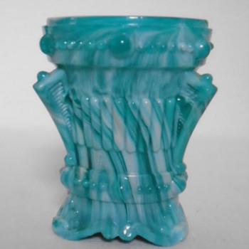 Malachite Glass Vase or Jar - Art Glass