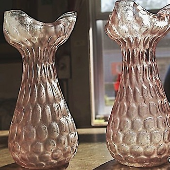 Pair of Rindskopf Honeycomb Tricorn Vases - Art Glass