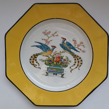 Johnson Brothers Eight Sided Dish Yellow with Two Birds
